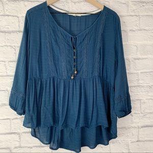 REWIND Peasant Style Boho Blouse Blue